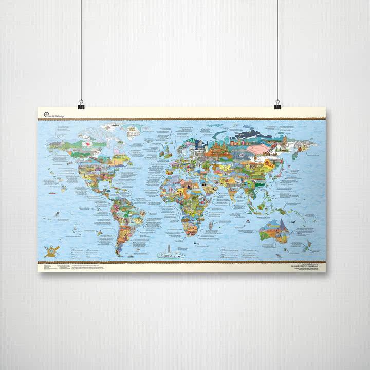 Travelmap/Bucketlist von Awesome Maps mit Aufhängung