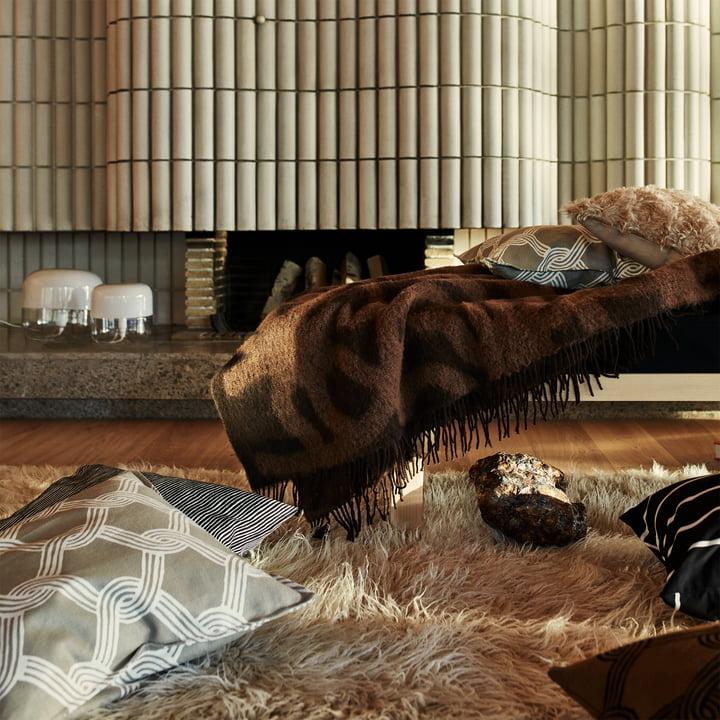 Marimekko - Joonas Decke, braun / dunkelbraun - Sulhasmies Kissenbezug, grauweiß / beige