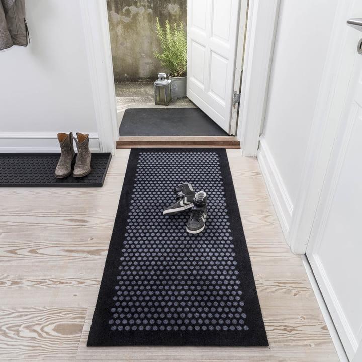Die tica copenhagen - Dot Fußmatte in schwarz / grau, 67 x 150 cm
