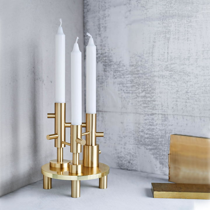 Kerzenständer Triple von Fritz Hansen in Messing