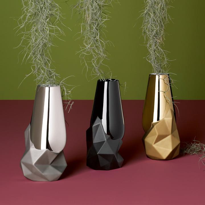 Geode Vase von Rosenthal in Platin, Gold und Schwarz