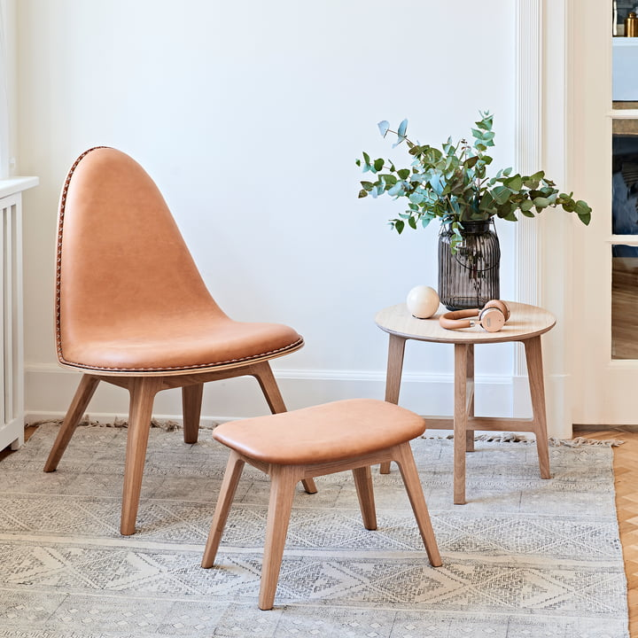 Nordic Beistelltisch, Lounge Chair mit Fußhocker