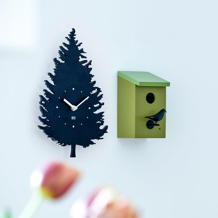 KooKoo - Vogelhaus Wanduhr mit RC Funkquarzwerk