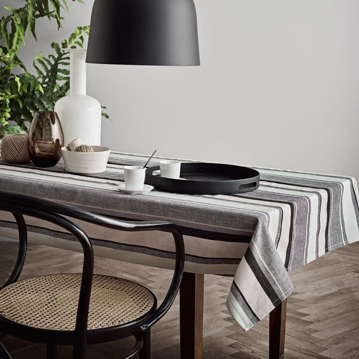 Die Juna - Wea Tischdecke in jet black im modernen Ambiente