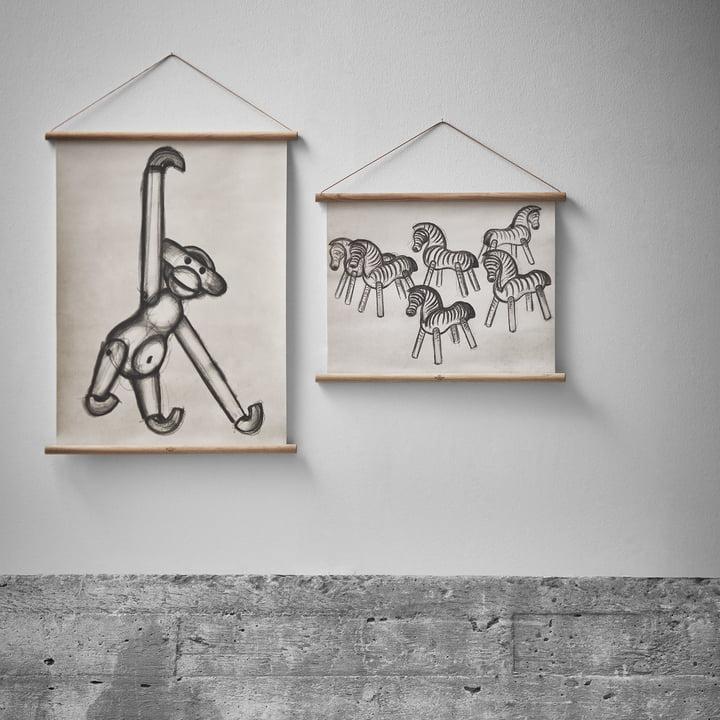 Affe und Zebra Zeichnungen von Kay Bojesen