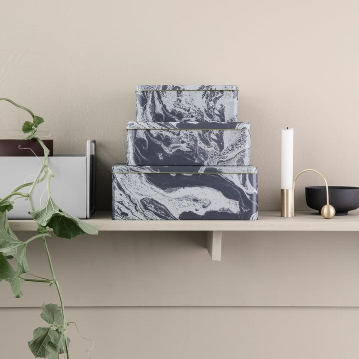 ferm Living - Marmor Aufbewahrungsbox (3er-Set)