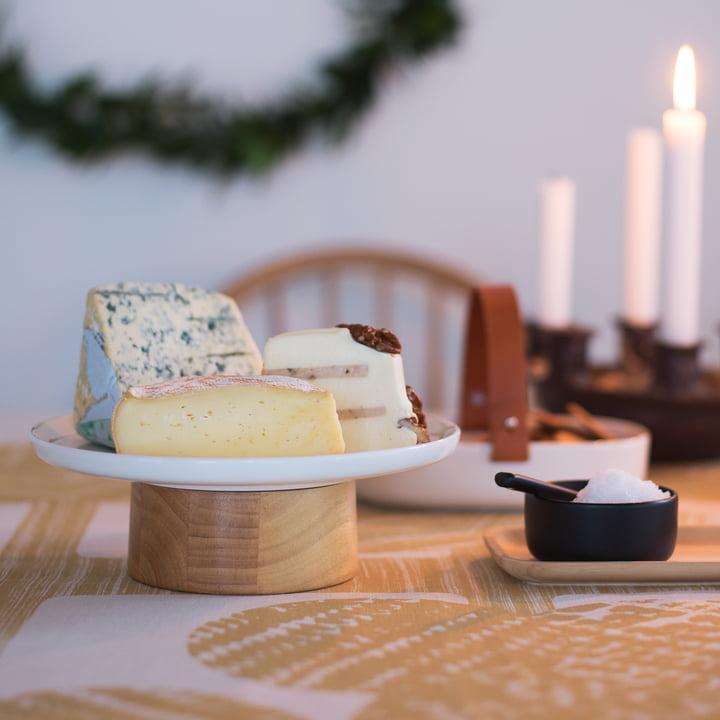 Oiva Mauste Salz- und Pfefferschale mit Oiva Kanta Servierteller / Kuchenplatte von Marimekko
