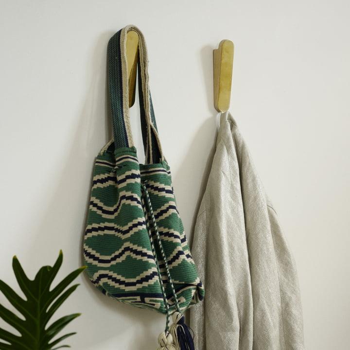 Die Skagerak - Reflect Wandhaken Single und Double in Eiche / Messing als Garderobe
