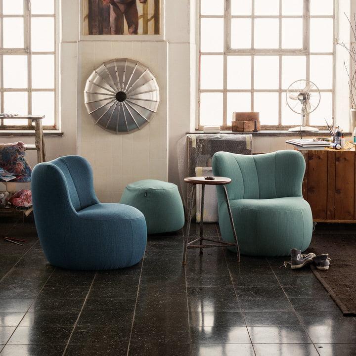 173 Sessel von freistil in Blau und Pastelltürkis