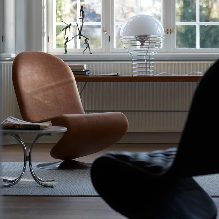 System 1-2-3 Lounge Chair Standard, Modular Tisch mit Wire Tischleuchte von Verpan