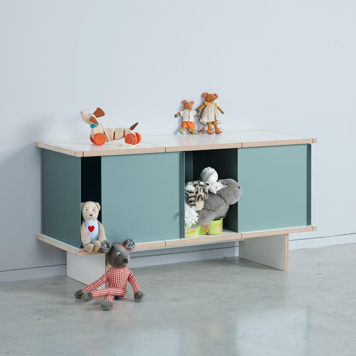 Das Konstantin Slawinski - YU Sideboard Set 3 x 1, MDF weiß / türkis im Kinderzimmer