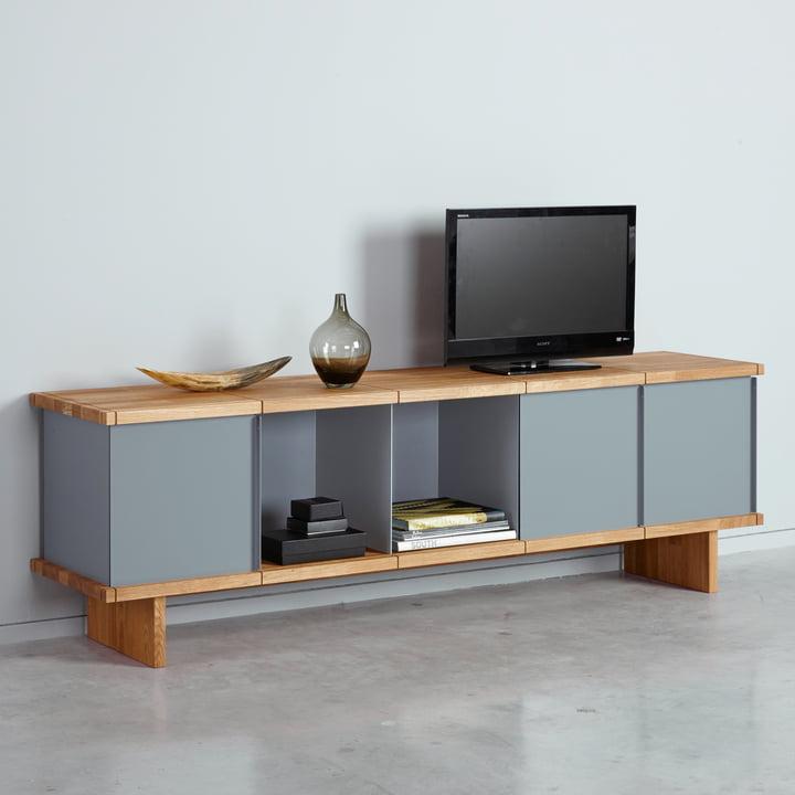 Das Konstantin Slawinski - YU Sideboard Set 5 x 1, Eiche / grau im Wohnzimmer