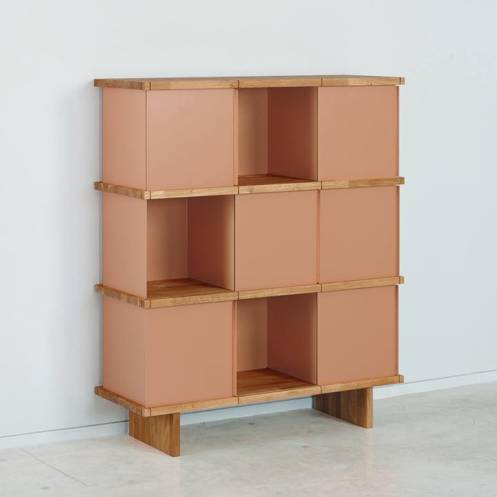 Das Konstantin Slawinski - YU Sideboard Set 3 x 3, Eiche / beigerot