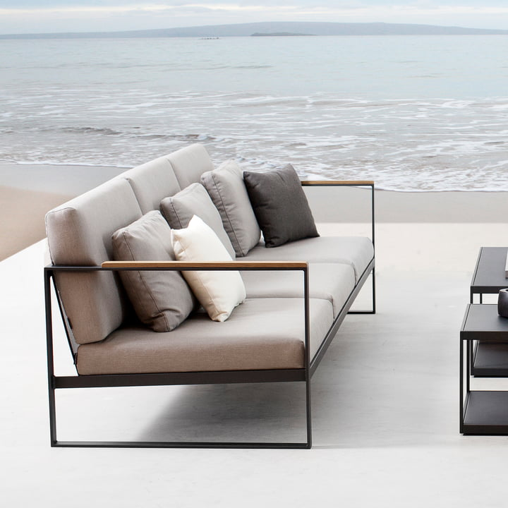 Das Röshults - Garden Easy 3-Sitzer Sofa, anthrazit / nature grey