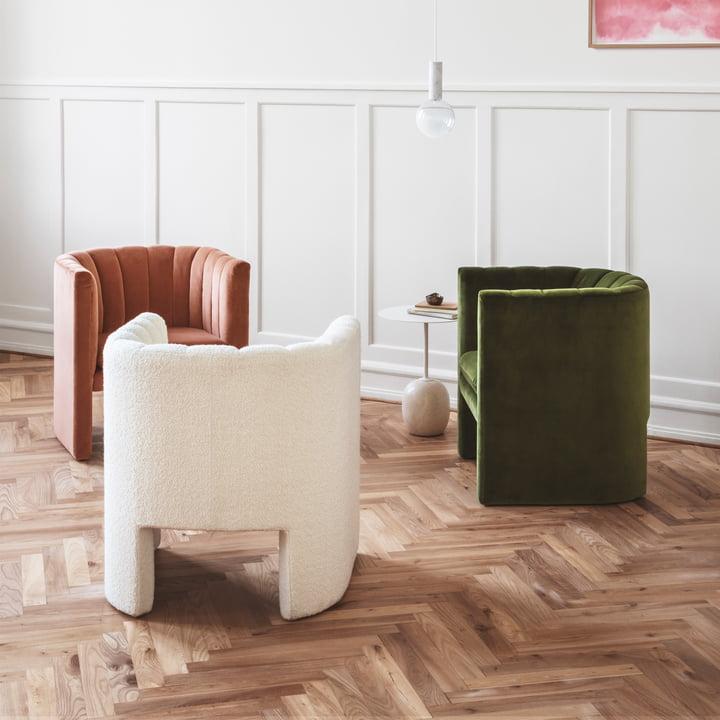 Lato Beistelltisch, Loafer Sessel und Marble Light Pendelleuchte von &Tradition