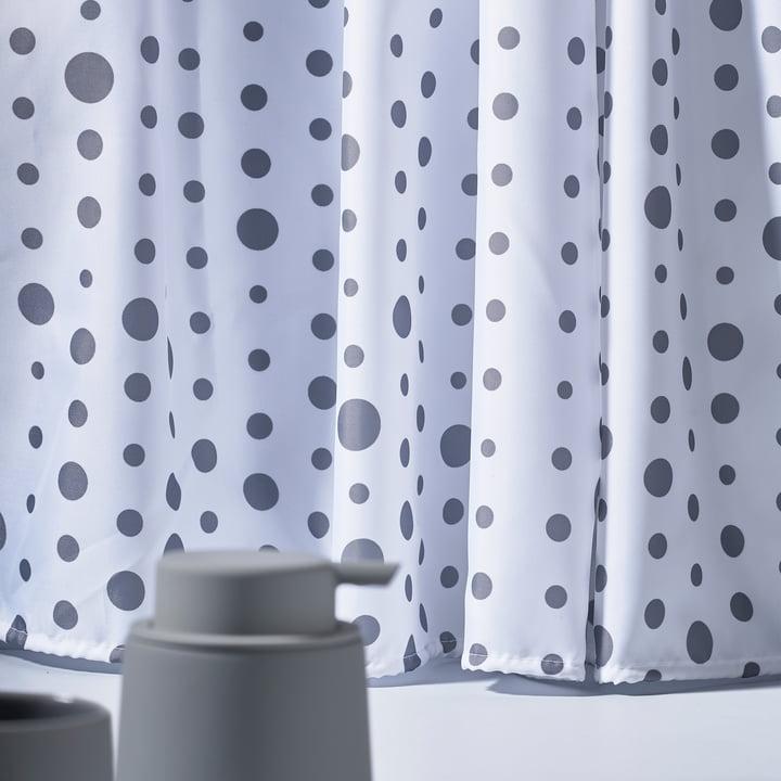 Der Zone Denmark - Drops Duschvorhang, grau / weiß