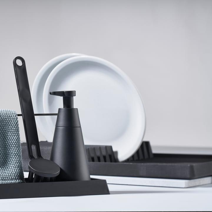 Das Zone Denmark - Abtropfgestell in schwarz mit dem Dry Art Set