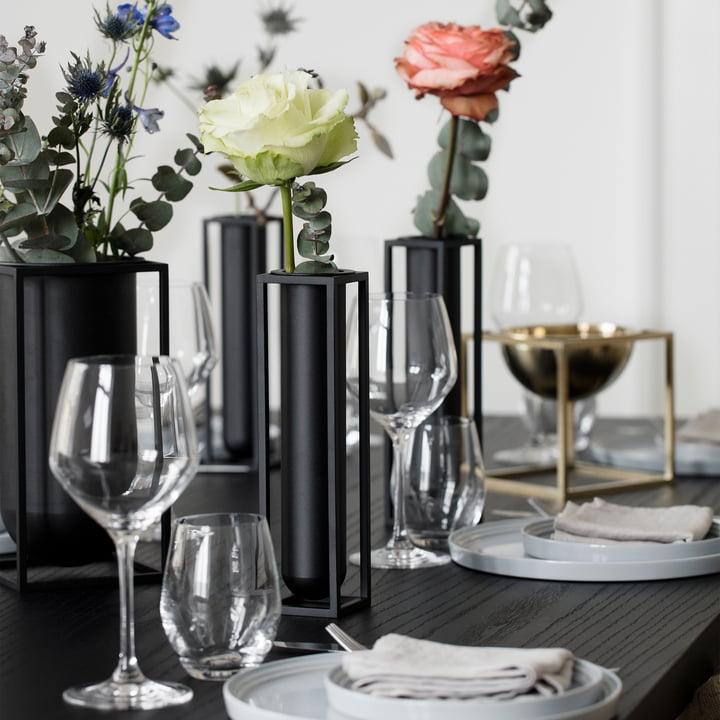 by Lassen - Kubus Vase Flora, schwarz