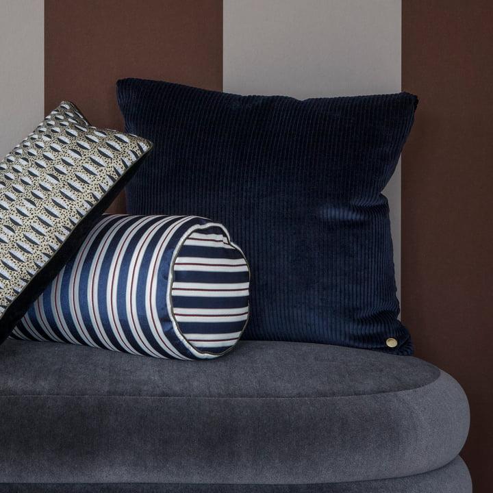 Das ferm Living - Corduroy Kissen, 45 x 45 cm, navyblau kombinierten mit Streifenmustern