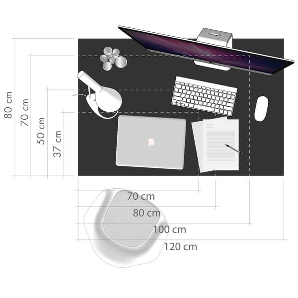 Schreibtisch Grafik 5 - Größe Arbeitsfläche