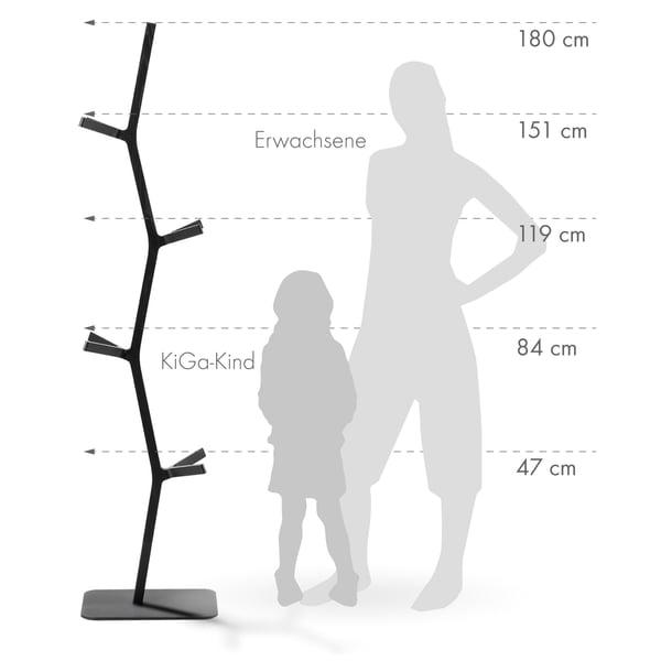 Grafik Garderobenständer mehrere Höhen