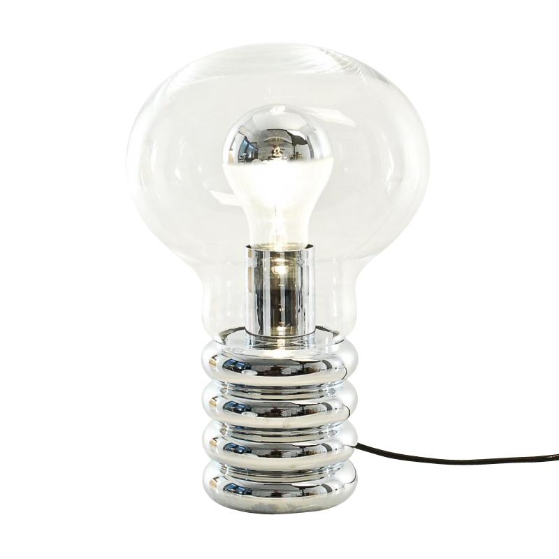 Ingo Maurer - Lampe de table Bulb - transparent/métal/abat-jour Ø20cm/verre en cristal soufflé de Murano/H 20cm/socle métal chromé/câble interrupteur